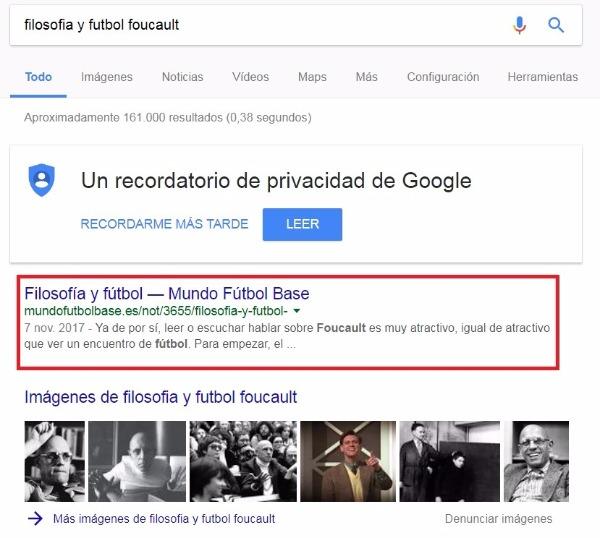 Posición en Google del artículo MundoFutbolBase en el número 1 mi web no aparece